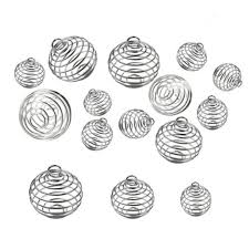 <b>30PCS</b>/Set <b>Silver Plated Round</b> Alloy Spiral Beads Cages Pendants ...