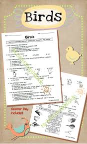 understanding animals birds study assessment and quizes questions are regarding characterisitics types qualities and behavior use it for your animal unit or bird study