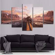 <b>5 Piece HD Picture</b> Road Numbers Route 66 Motorcycle Vehicle ...