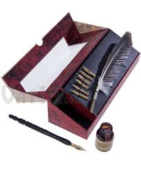 <b>Feather Pen</b> Set: <b>Feather quill</b>, wood pen, <b>metal</b> nibs, and ink
