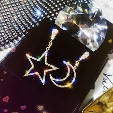 Fashion Jewelry <b>S925 Silver Needle Asymmetric</b> Star Moon Long ...