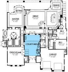 ideas about Courtyard House Plans on Pinterest   Courtyard    Central Courtyard   MD   European  Florida  Mediterranean  Southwest  st Floor Master