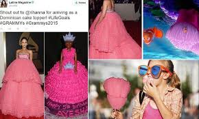 Rihanna's voluminous pink Grammys gown inspires countless memes ... via Relatably.com