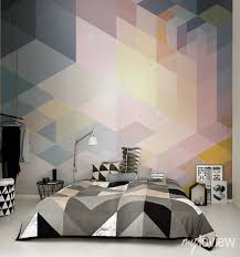 Modern Ideas For Bedroom Decorating With Bold Geometric - Bedroom wall murals ideas