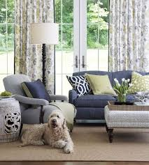blue sofas living room: ilikes the blue on sofa pattern on drapes not overbearingj and likes style of chair oldfashioned but contemporary too ndigocitron room landingpage