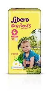 Подгузники-<b>трусики Libero Dry</b> Pants Size 4 (7-11кг), 34 шт ...