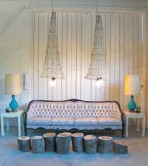 romantic living room kit  exclusive vintage lighting crafted from old fish nets design red mode