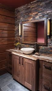 bathroom layout ideas rustic wooden vanity: wooden vanity and warm hues in this bathroom with modern sink pattonmelo