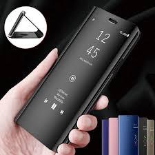 Smart Mirror Flip Phone <b>Case</b> Clear <b>View Window</b> Hard PC Stand ...