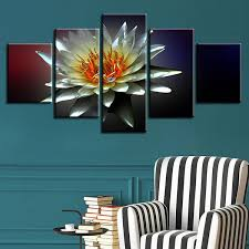 <b>Modular</b> Canvas Paintings Wall Art <b>5 Pieces</b> Water Lily Pictures HD ...