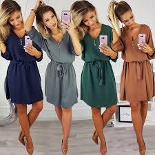 <b>Women</b> Casual Elegant <b>Sashes Button</b> Party Dress Half Sleeve ...