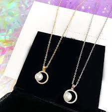 Fashion <b>Korean Micro</b>-<b>Inlaid Zircon</b> Necklace Pearl Pendant Jewelry ...