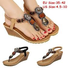 Plus Size 35-42 Women Sandals Fashion Beads Gladiator Sandals ...