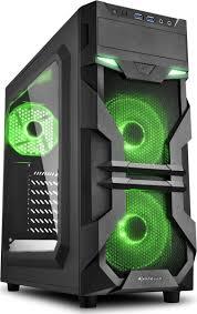 Компьютерный <b>корпус</b> Sharkoon VG7-W, черный, зеленый