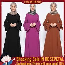 M-XL Muslim Women Dress Islamic Pure Color <b>Plus Size Middle</b> ...