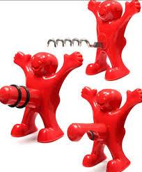 Bar Cork Screw Red Fun Happy Man <b>plastic Wine</b> Beer Soda Bottle ...