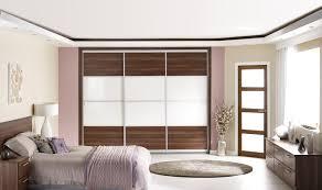 Sliding Door Bedroom Furniture Oriental Walnut And Ice White Glass Sliding Door Wardrobes