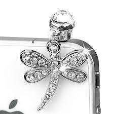 ip255-B <b>Luxury Crystal</b> Dragonfly Anti Dust Plug Cover <b>Charm</b> for ...