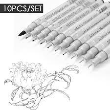 10pcs <b>Needle Drawing Pen</b> Waterproof <b>Sketch</b> Pigment Fine Liner ...