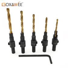 5pcs Tapered Drill Countersink Bit Wood Pilot Hole Hex Shank ...