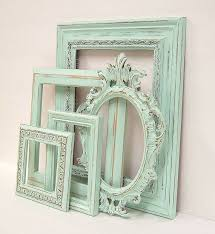 shabby chic frames pastel mint green picture frame set ornate vintage frames wedding shabby chic home chic mint teal office