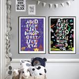 <b>Набор из 2</b>-<b>х</b> плакатов «Алфавит» Черный + Фиолетовый