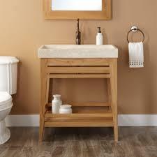 open bathroom vanity cabinet: clear coating wooden bath vanity