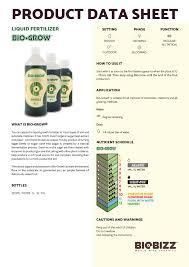 products biobizz data sheet