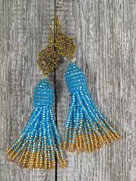 Blue gold earring Long tassel earring <b>Seed bead</b> earring Blue ...