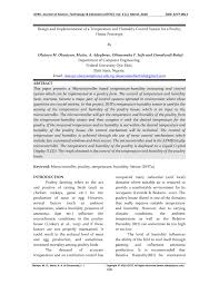 Design and Implementation of a Temperature and <b>Humidity Control</b> ...