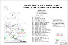 sample project drawings central barbour psd teter creek waterline project cover sheet index and location map