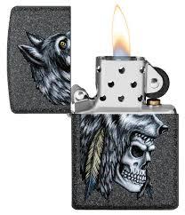 "<b>Зажигалка</b> ""<b>Zippo</b>. <b>Wolf Skull</b>"" с покрытием Iron Stone, 36x12x56 ..."