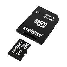 microSDHC <b>8GB карта памяти</b> SD Smartbuy