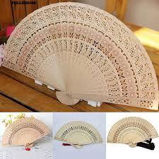 <b>Vintage Hollow</b> Carved <b>Wooden</b> Flower Folding Hand Held Fan ...