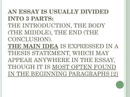 types of academic writing  4 an essay is usually divided into 3 parts the introduction the body the middle the end the conclusion the main idea is expressed in a thesis