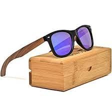 Walnut <b>Wooden Mens</b> and Womens <b>Sunglasses</b> with Blue Mirrored ...