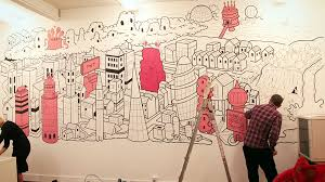wall art decor pink building for the office painting drawing design cool unique expensive project workart artwork for office walls