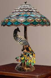 tiffany style peacocks hallow double lit stained glass table lamp new ebay amazing glass table top