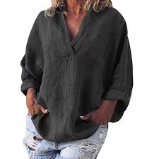 TnaIolral <b>2019 Women T</b>-<b>Shirt</b> Plus Size Solid <b>Summer</b> Linen V ...