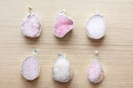 1 pcs of Real Druzy Agate Crystal Pendants - <b>Silver Electroplating</b> ...