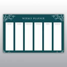 <b>Elegant dark green</b> weekly planner Vector   Free Download