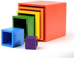 LJ Home Children's Toys Solid Wood <b>Rainbow Blocks 12 Color</b> ...