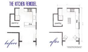 The Kitchen Floor Plans  Before  amp  After Bird    s Eye Sketch    The    The Kitchen Remodel Floor Plan Before and After