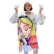 QING MO Cartoon <b>Print</b> Dress Women Long T Shirt <b>2019 Summer</b> ...