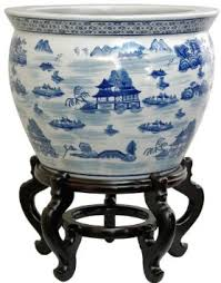 get quotations oriental furniture ming era export design 18 inch blue and white porcelain fishbowl asian landscape cheap asian furniture