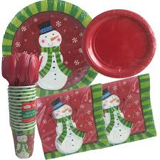 household dining table set christmas snowman knife: amazoncom christmas snowman disposable dinnerware set and holiday party bundle snowman  guests  pieces set of dinner plates dessert plates