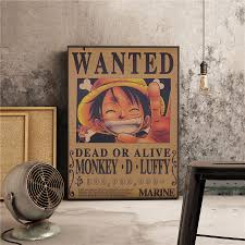 Vintage Paper Anime Kraft Paper Poster <b>One Piece Luffy Wanted</b> ...