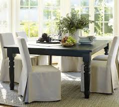 pottery barn style dining table:  dining room metal support bracket with turnbuckle details pottery barn table brown laminate wood cream upholstered