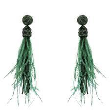 <b>Beaded</b> Ostrich Feather <b>Long</b> Tassel Earrings <b>Dark Green</b> – LATELITA