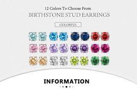 <b>ORSA JEWELS</b> 12 Colors Birthstone Stud Earrings for Women <b>925</b> ...